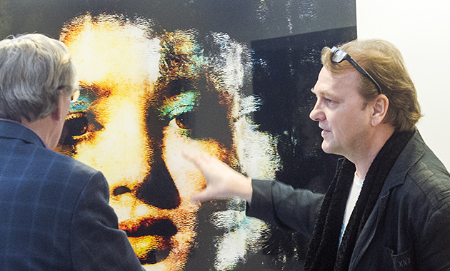 Kunstwerk op dibond achter acryl