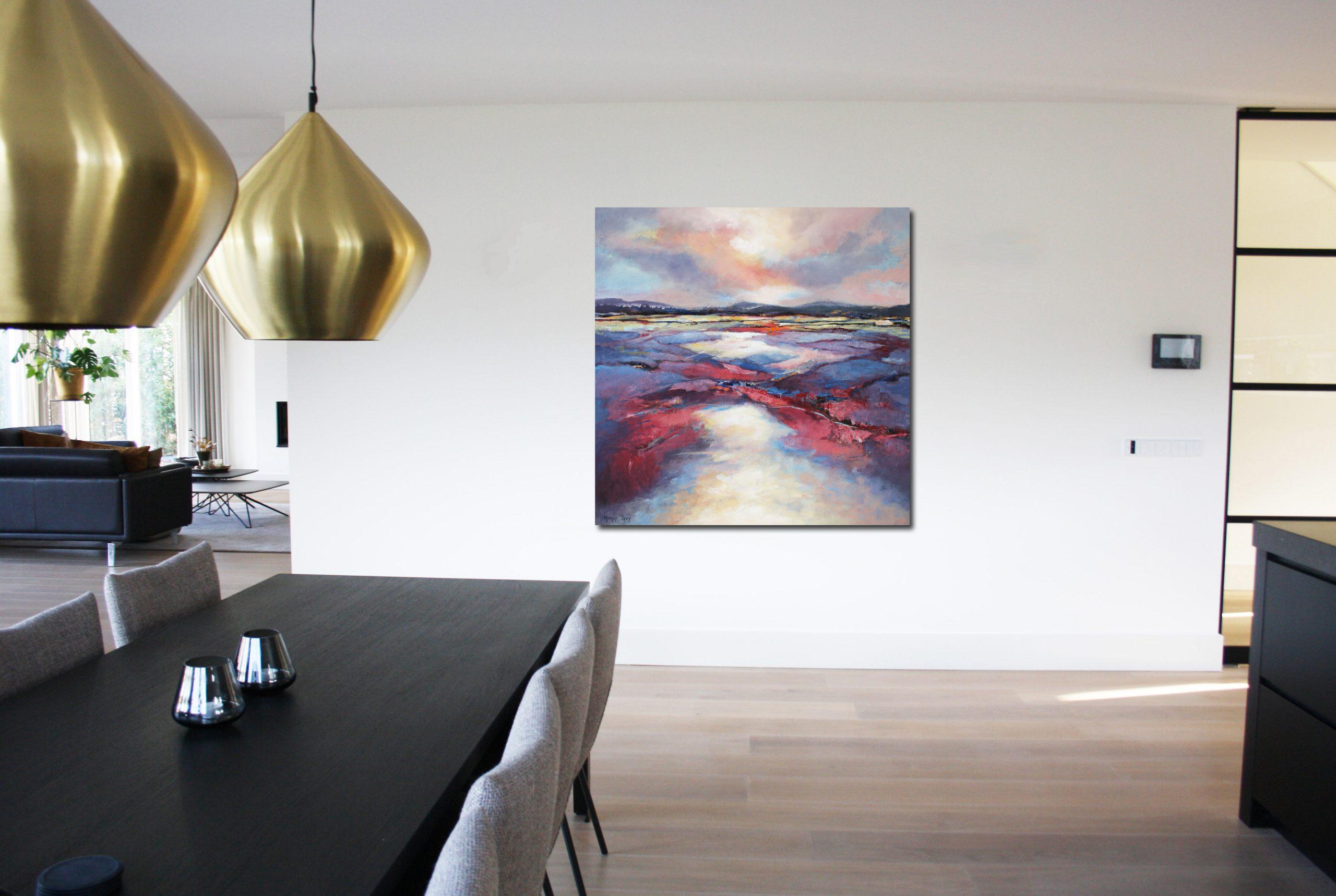 Kunst: Abstract landschap 2001 van kunstenaar Marly Freij(vergezichten)