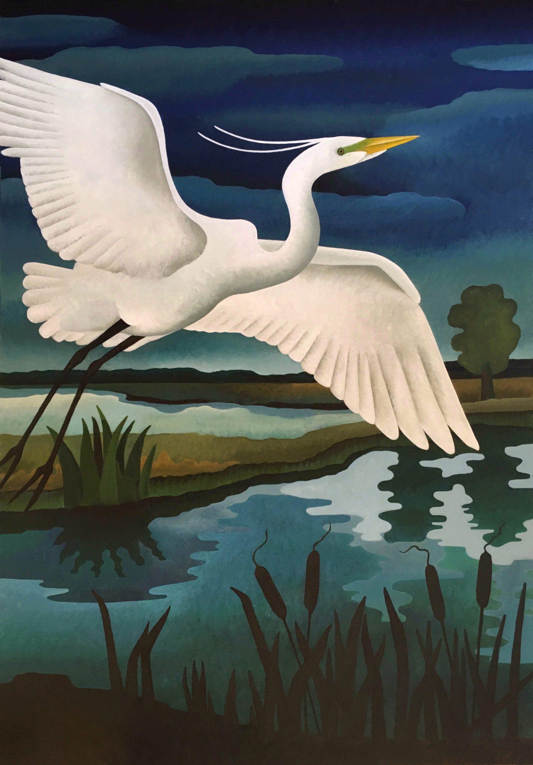 Kunst: Opvliegende grote zilverreiger van kunstenaar Yvonne Zomerdijk