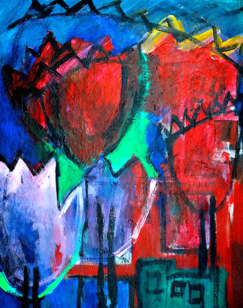 Kunst: Composition 6020 van kunstenaar Engelina Zandstra