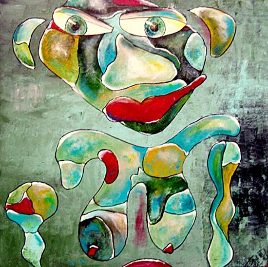 Kunst: losse handjes 100x100cm van kunstenaar Carla Broeckx