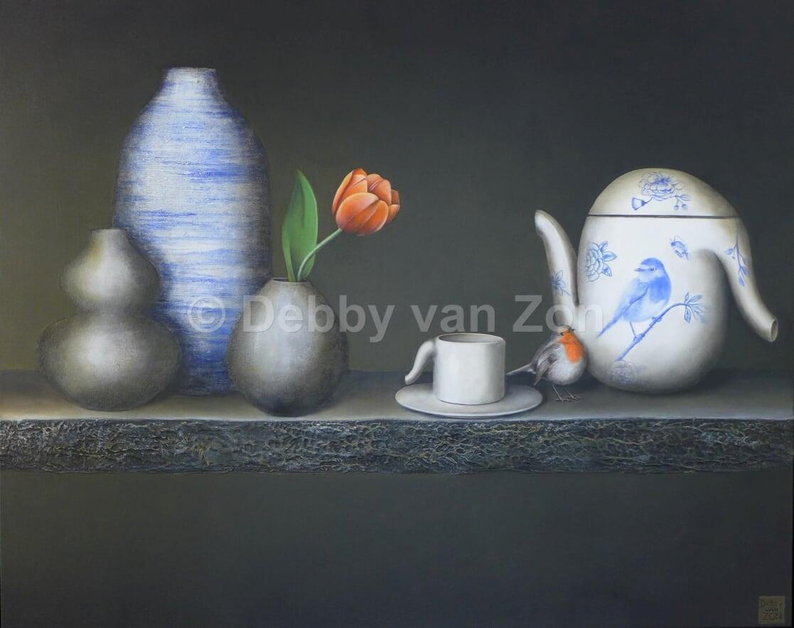 Kunst: Silence in Delfts blue van kunstenaar Debby van Zon