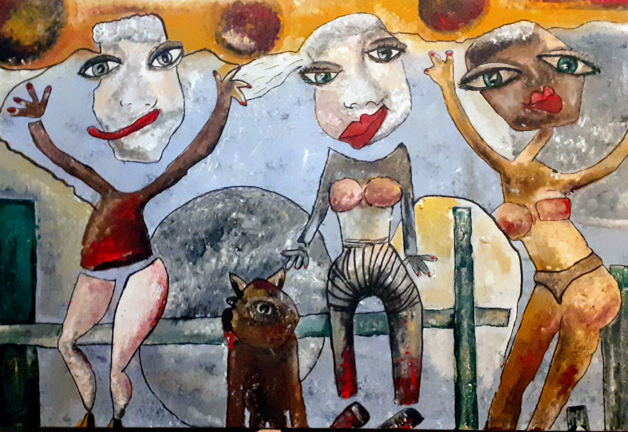 Kunst: To the beach 160x100cm van kunstenaar Carla Broeckx