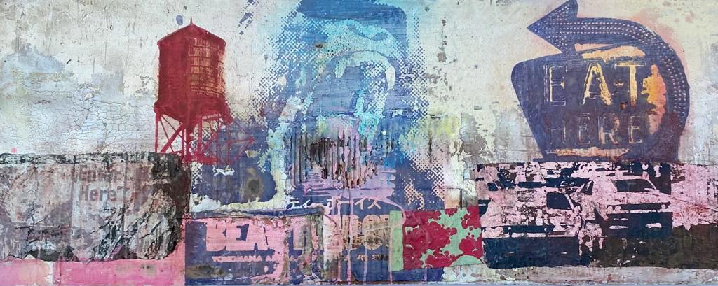 Kunst: Eat here van kunstenaar  George Heidweiller