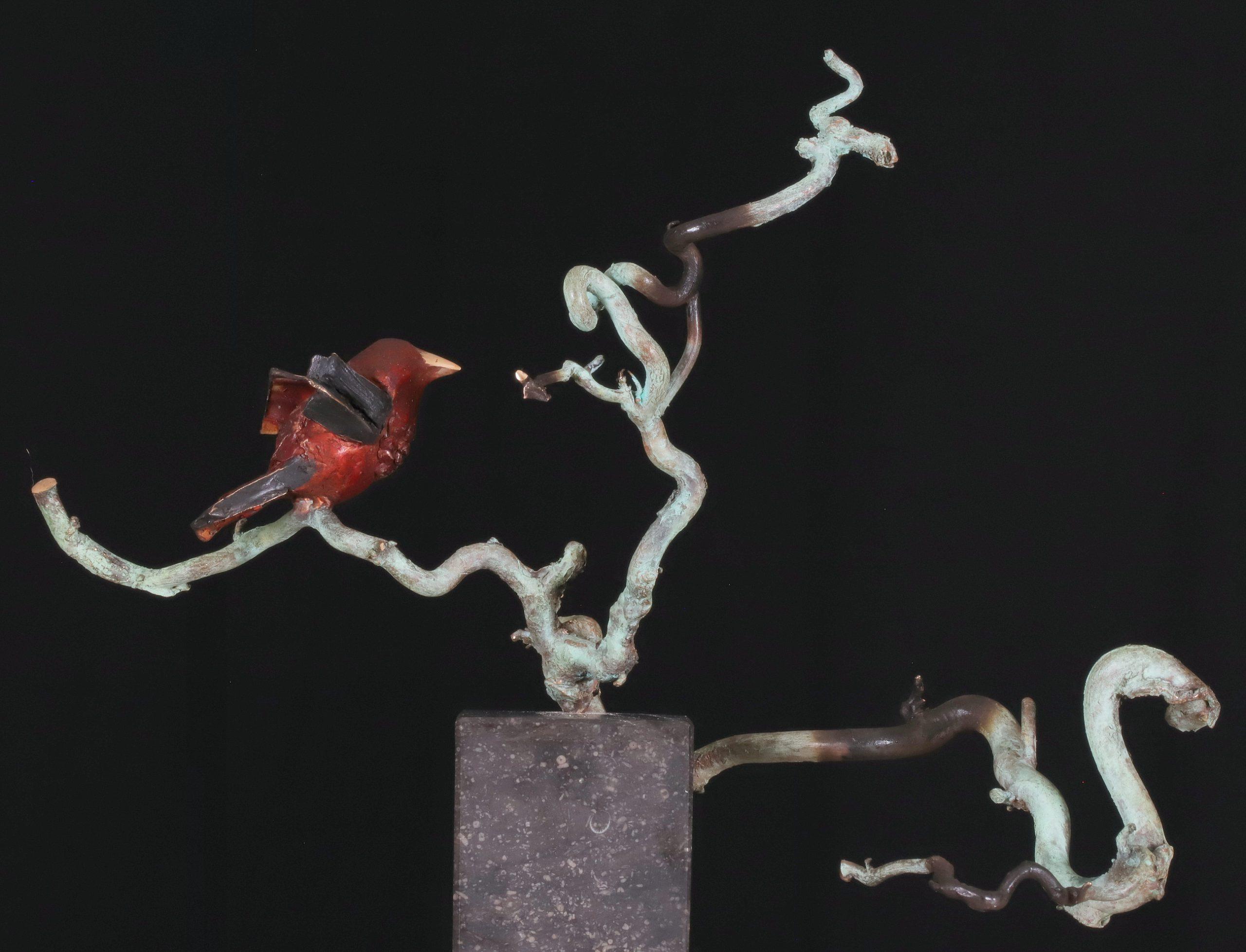 Kunst: Mus op tak (L219075) van kunstenaar Leny Franken