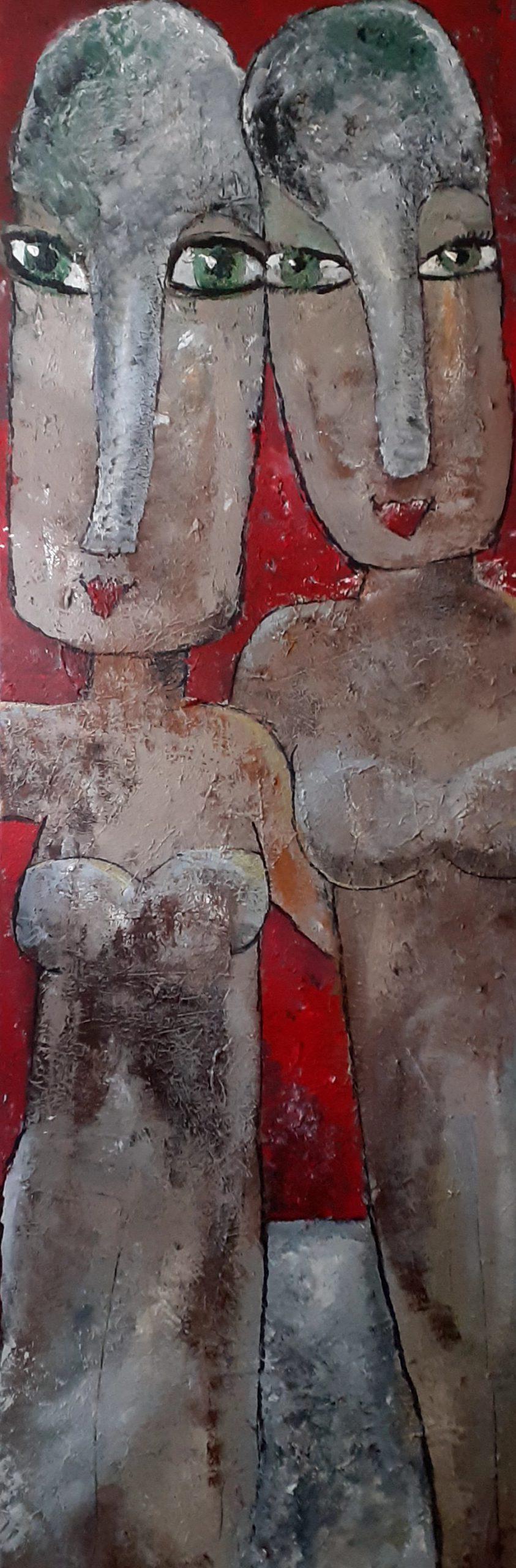 Kunst: Sisters 150×50 cm van kunstenaar Carla Broeckx
