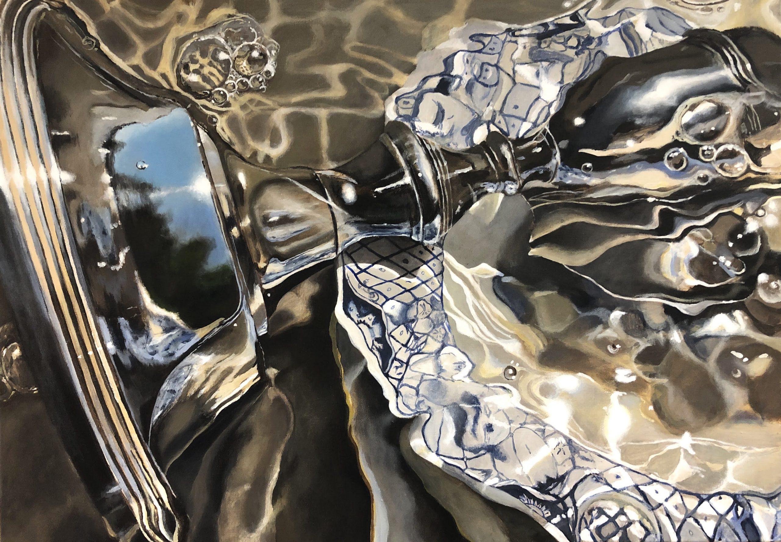 Kunst: Delfts Blauw in het water van kunstenaar Hannelore Houdijk