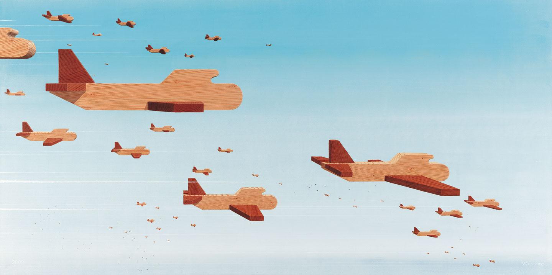Kunst: Een vlucht vliegtuigen van kunstenaar Peter van Oostzanen