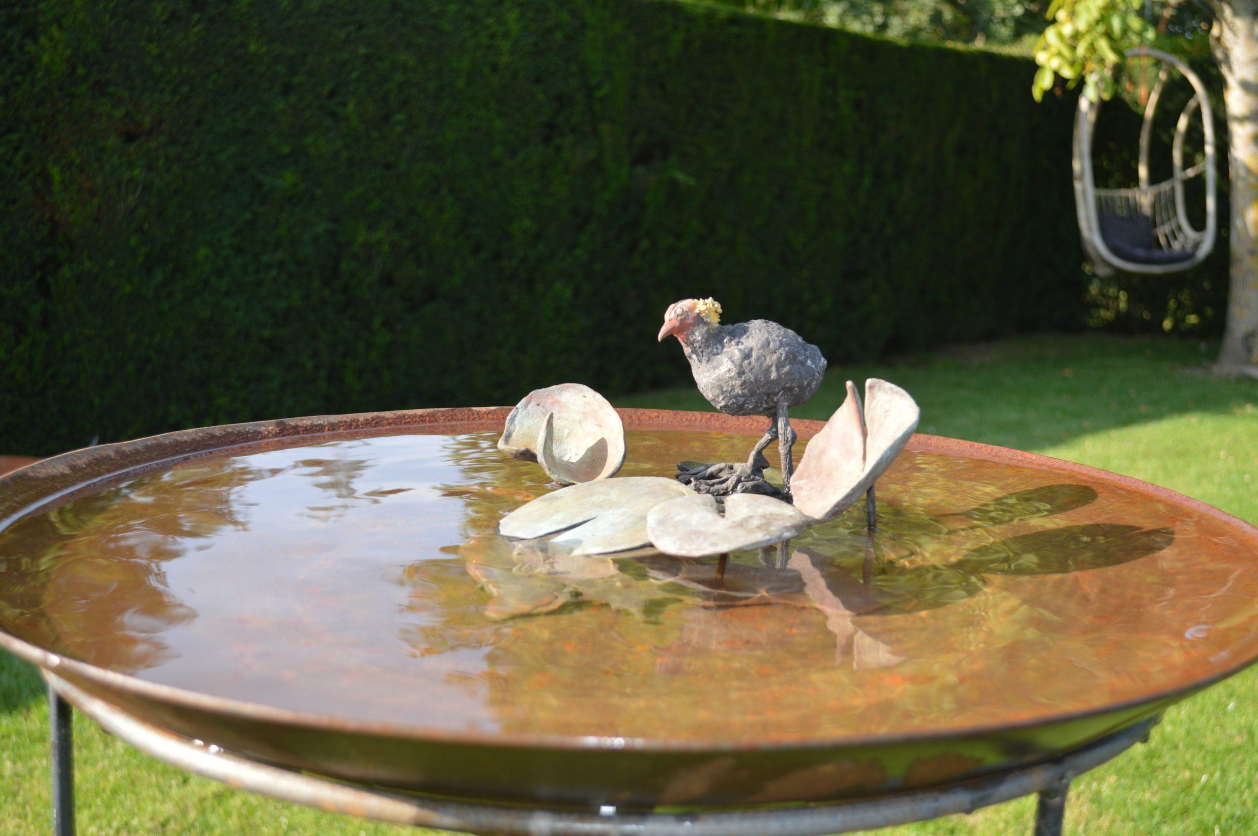 Kunst: waterschaal met leliebladeren en jonge meerkoet van kunstenaar Chris Gadiot