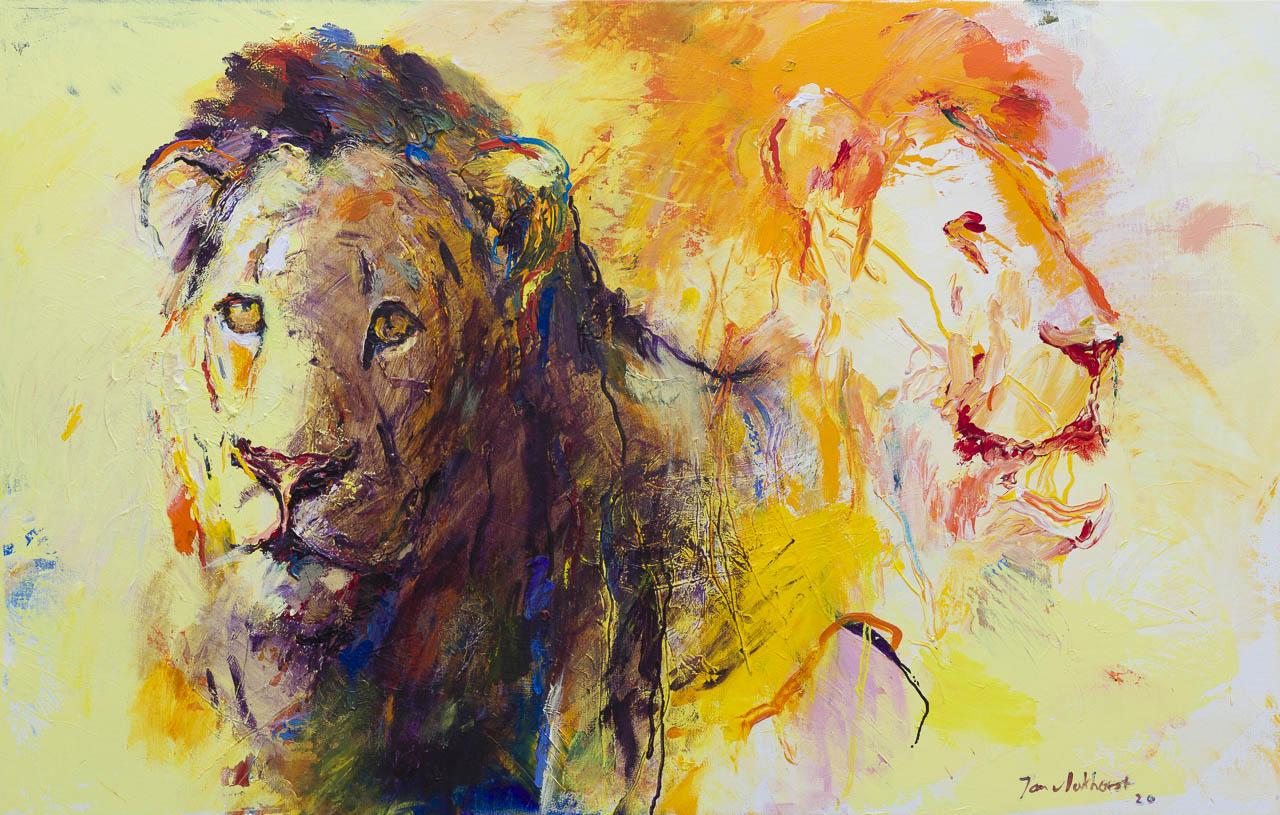 Kunst: Leeuwen 1 van kunstenaar Jan van Lokhorst