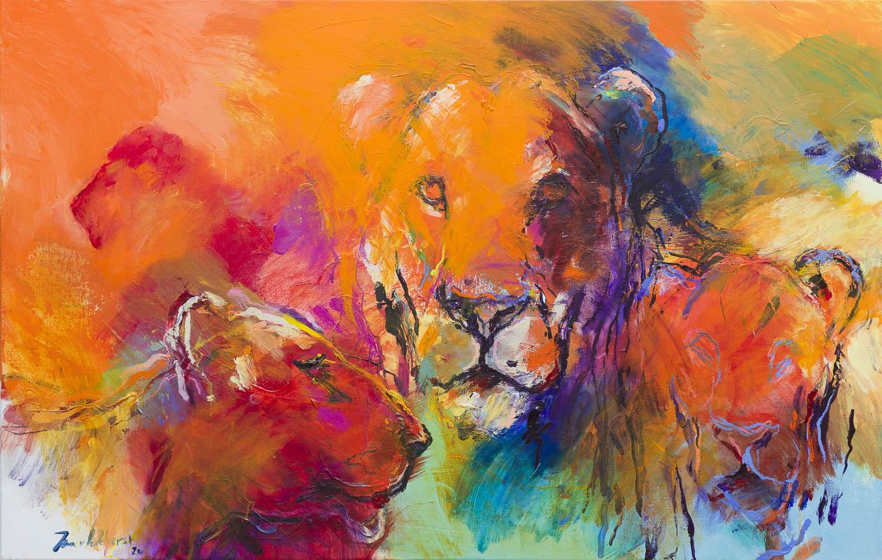Kunst: Leeuwen 2 van kunstenaar Jan van Lokhorst