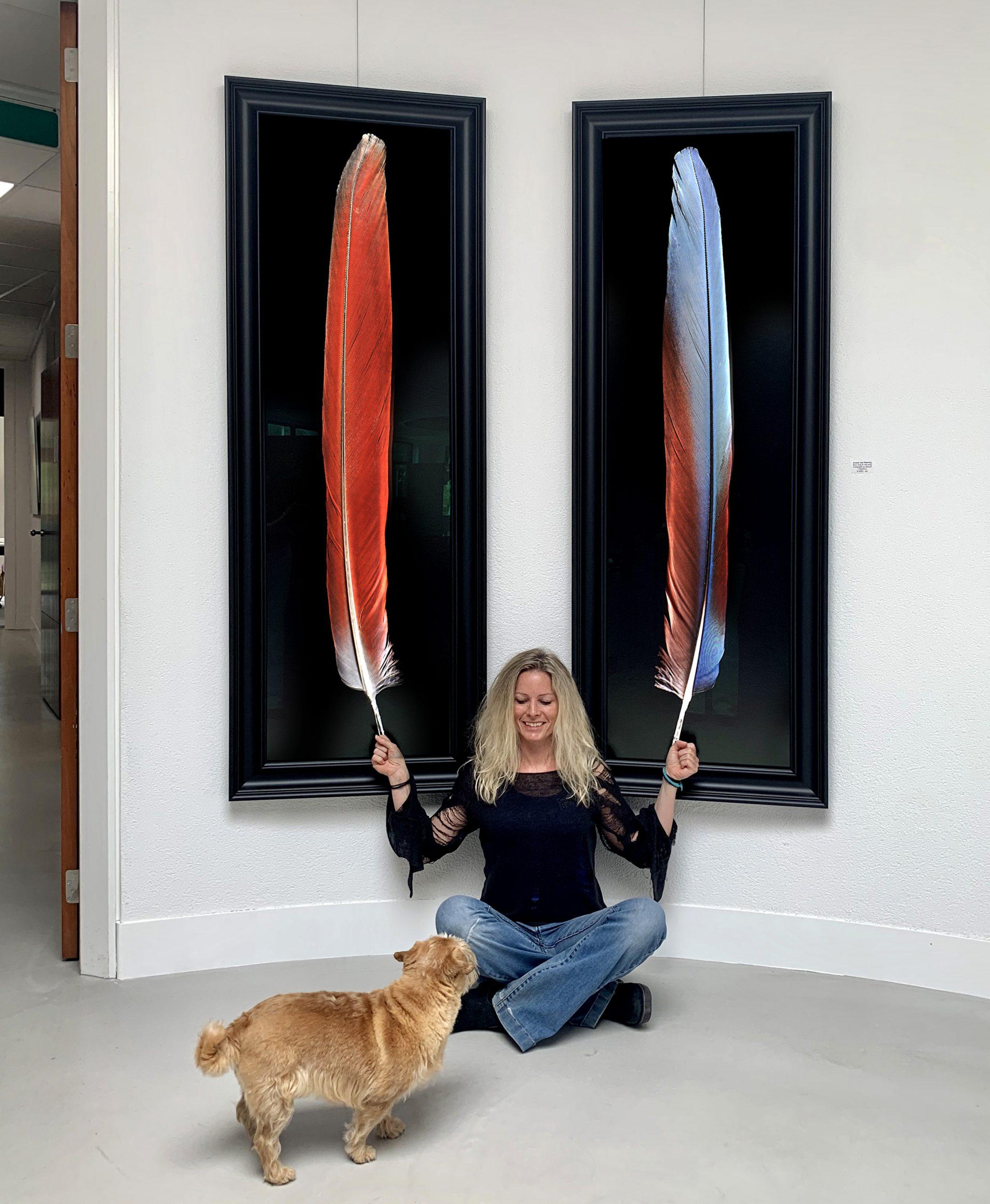 Kunst: BLUE WING & RED WING van kunstenaar Anouk van Tetering (Anoukart)