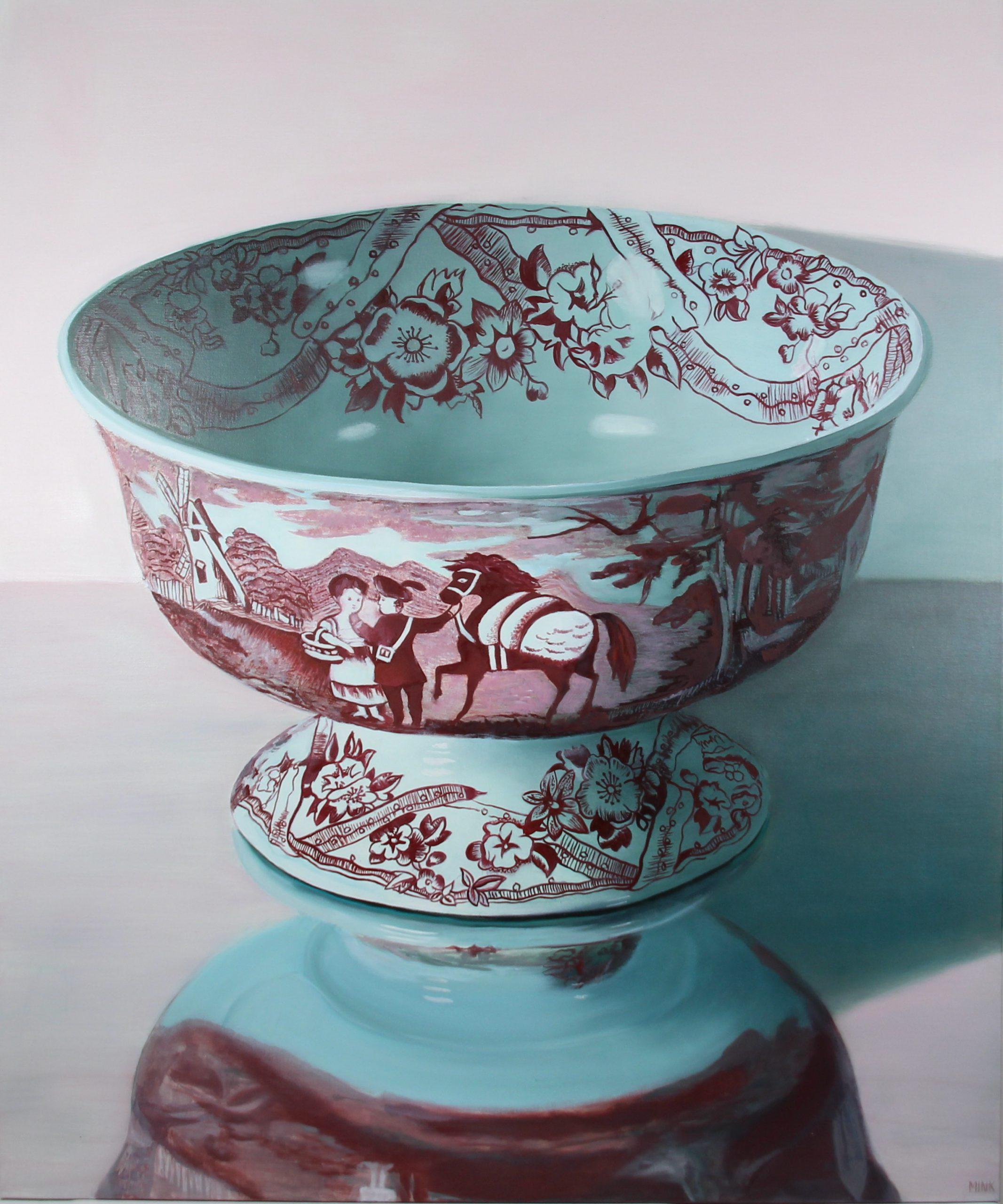 Kunst: Bejing – Red Ceramic Bowl van kunstenaar Minke Buikema