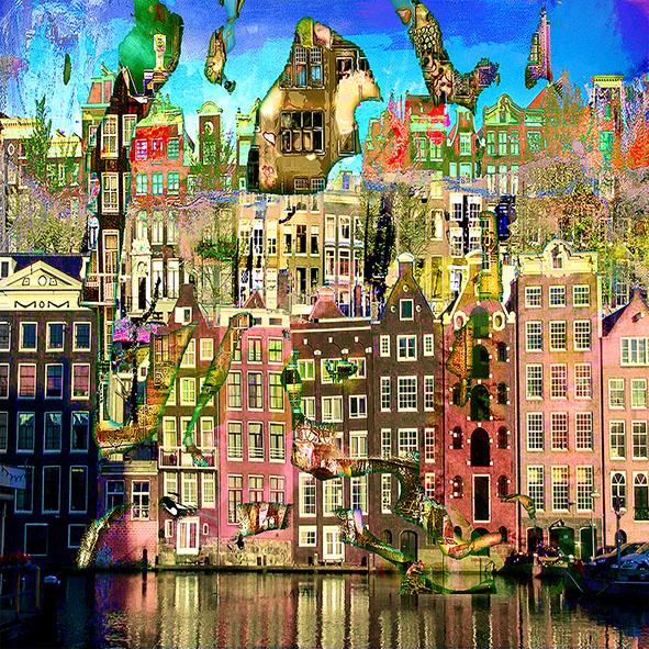 Kunst: Amsterdam View opus 1209 van kunstenaar Geert Lemmers