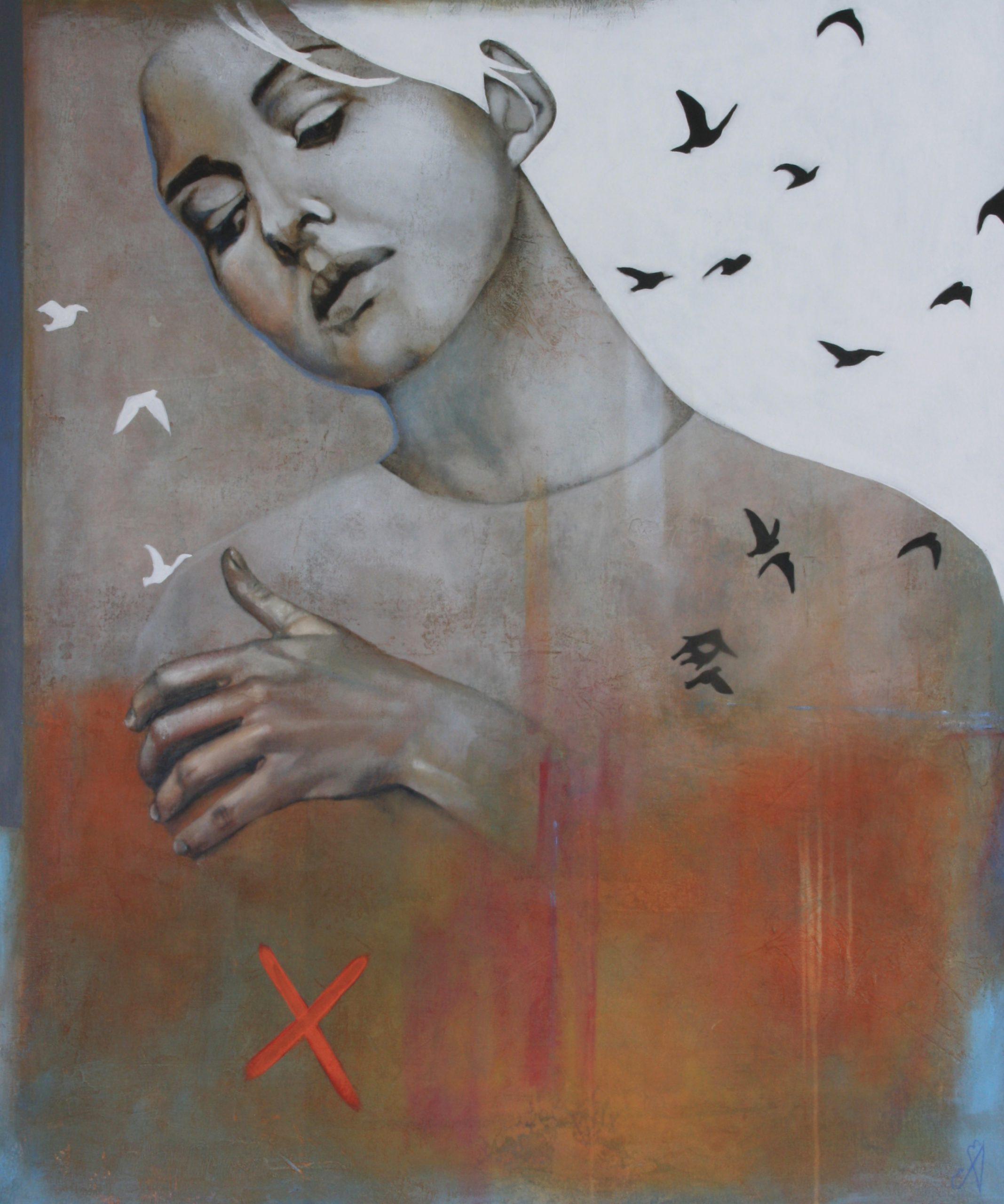 Kunst: Here with me now van kunstenaar Angelique-Mathijssen-van-den Bosch