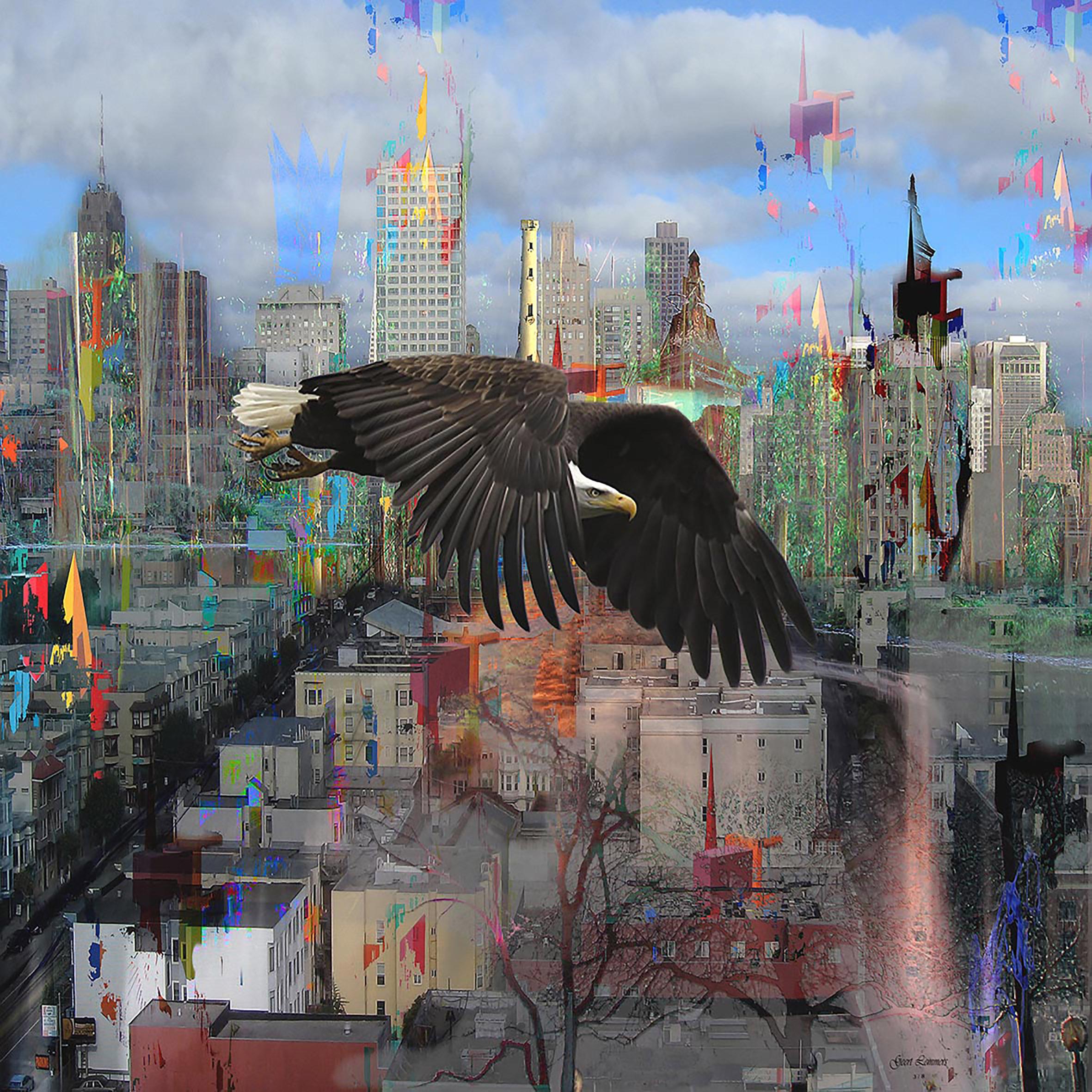 Kunst: cityscape with distrustful bird van kunstenaar Geert Lemmers