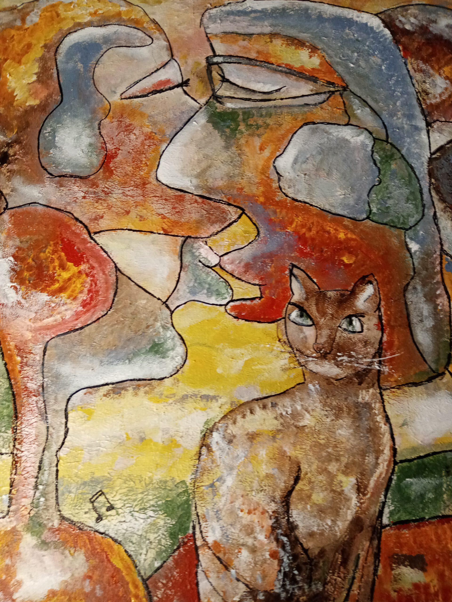 Kunst: Couple with cat van kunstenaar Carla Broeckx