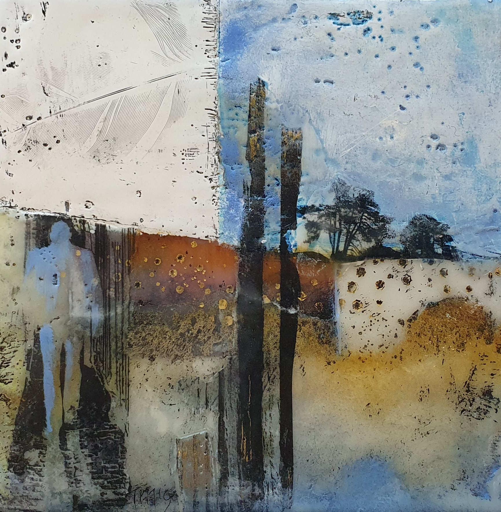 Kunst: man in blue van kunstenaar Trijnie Mohlmann