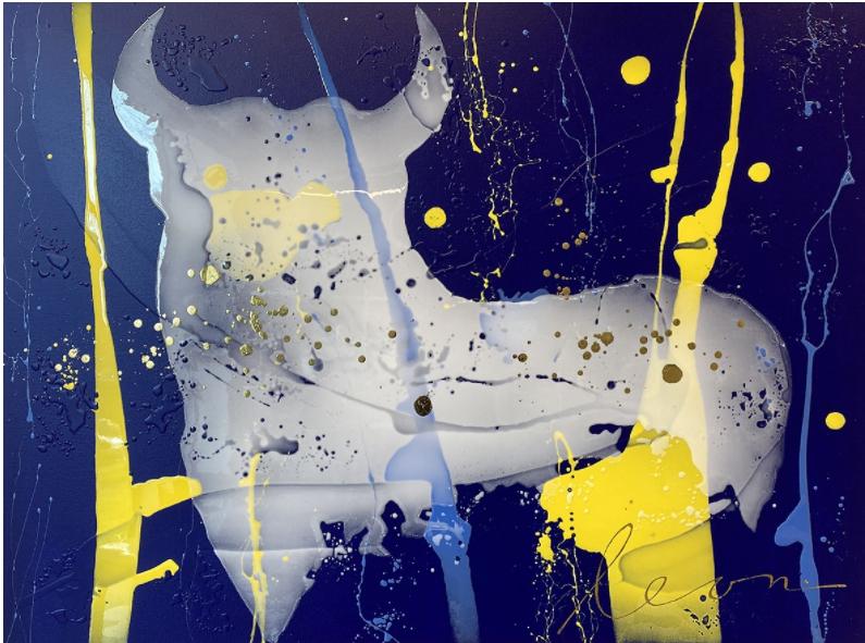 Kunst: White bull in bleu van kunstenaar Leon Bosboom