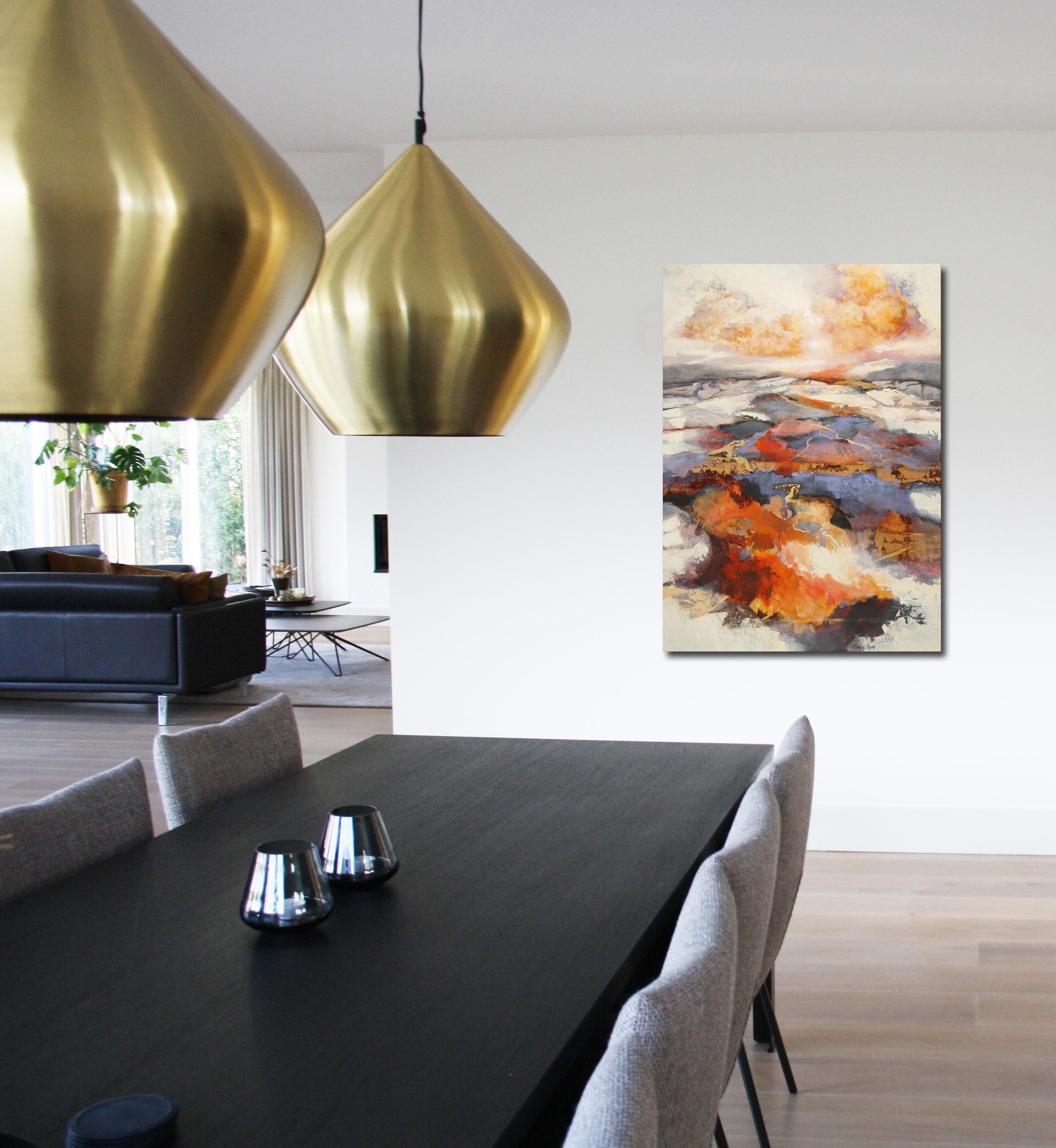 Kunst: Abstract landschap 2106 van kunstenaar Marly Freij(vergezichten)