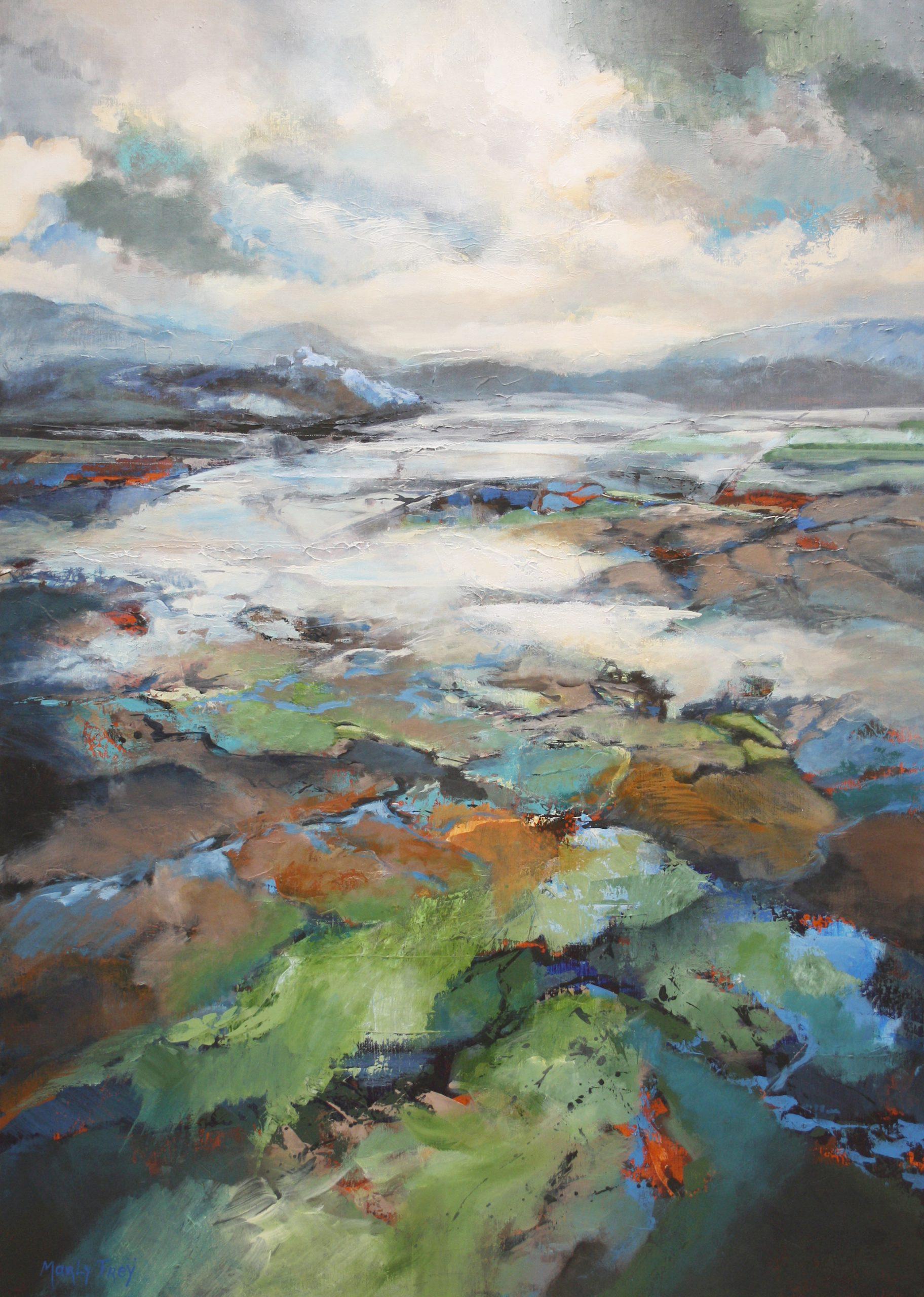 Kunst: Abstract landschap 2107 van kunstenaar Marly Freij(vergezichten)