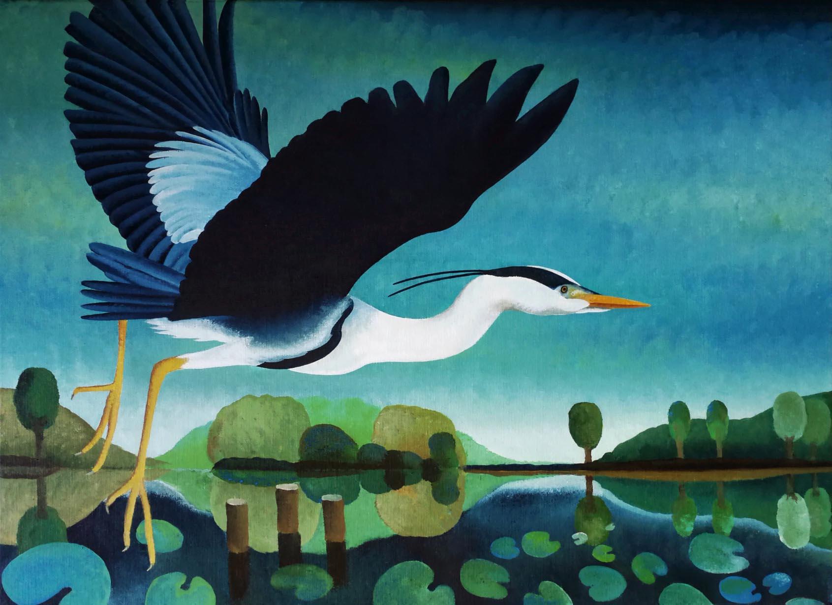 Kunst: Opvliegende blauwe reiger van kunstenaar Yvonne Zomerdijk