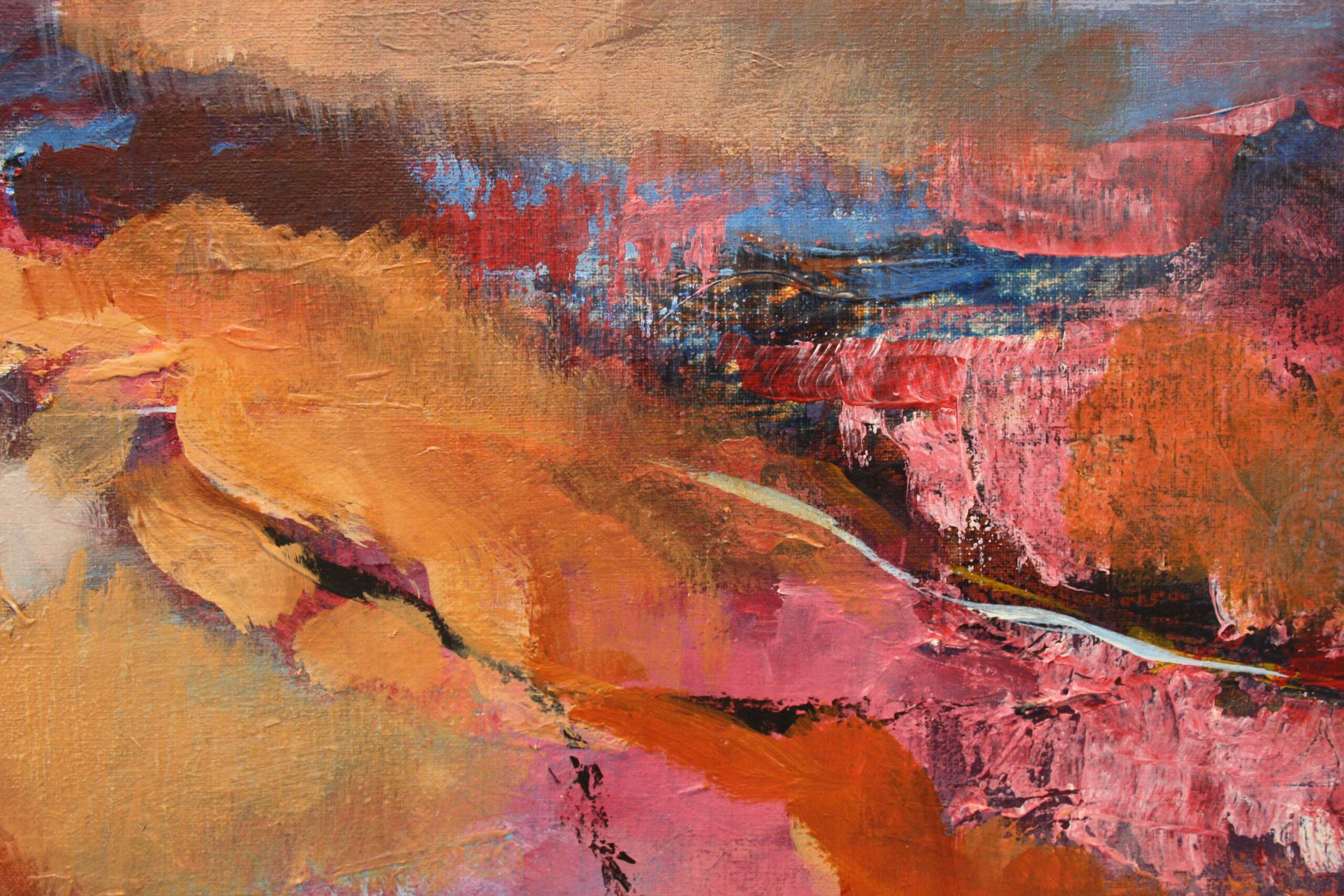 Kunst: Abstract landschap 2110 van kunstenaar Marly Freij(vergezichten)