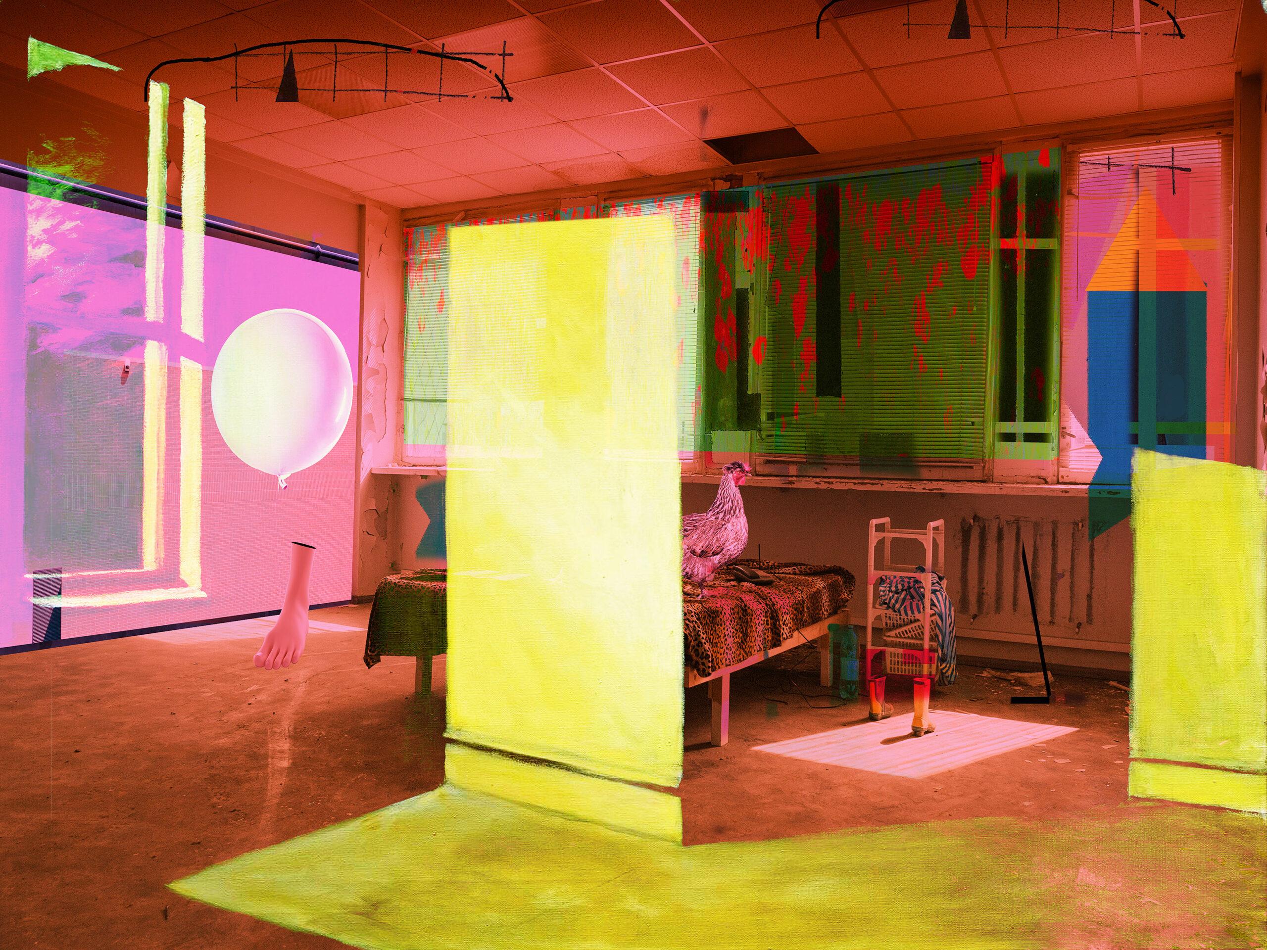 Kunst: Interior with chicken van kunstenaar Geert Lemmers