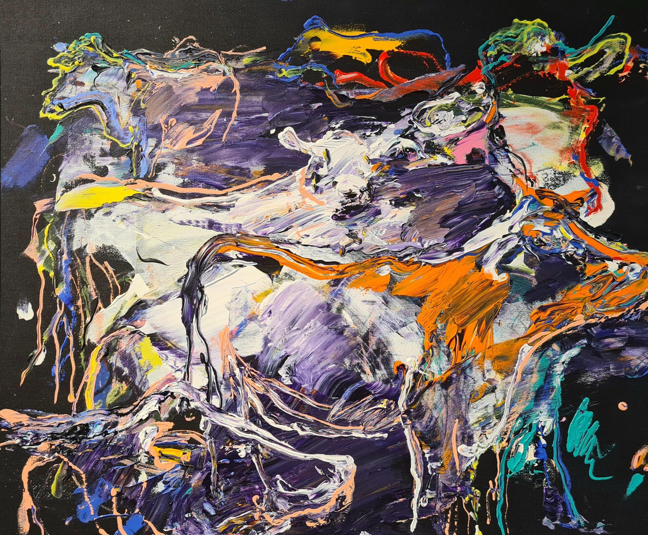 Kunst: Koeien in paars van kunstenaar Jan van Lokhorst