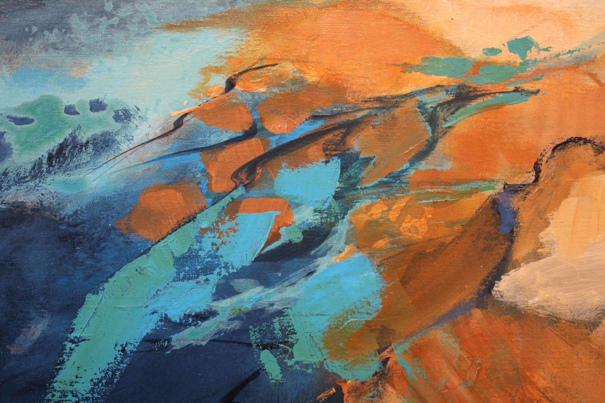 Kunst: Abstract landschap 2111 van kunstenaar Marly Freij(vergezichten)