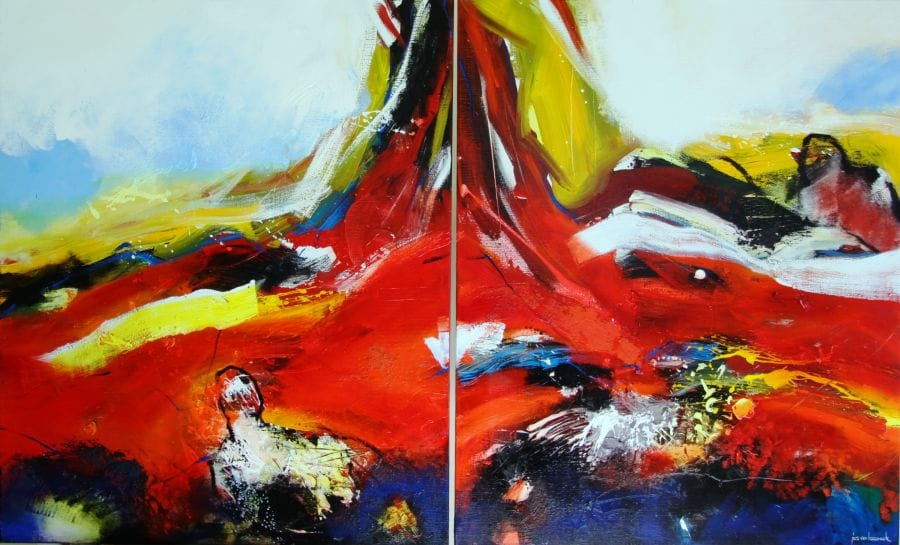 Kunst: 1123 Opstuwend. Tweeluik. van kunstenaar Jos van Beek