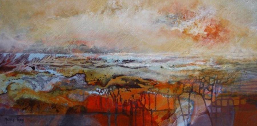 Kunst: abstract landschap 1112 van kunstenaar Marly Freij(vergezichten)