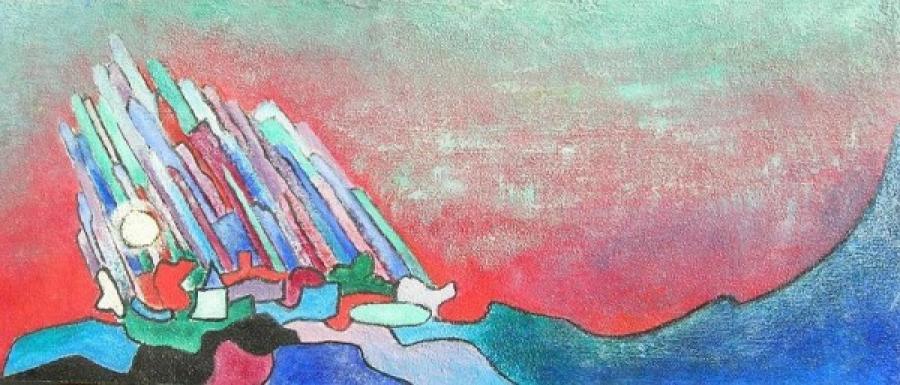 Kunst: acryl met zand 1 van kunstenaar Koeno Jansen