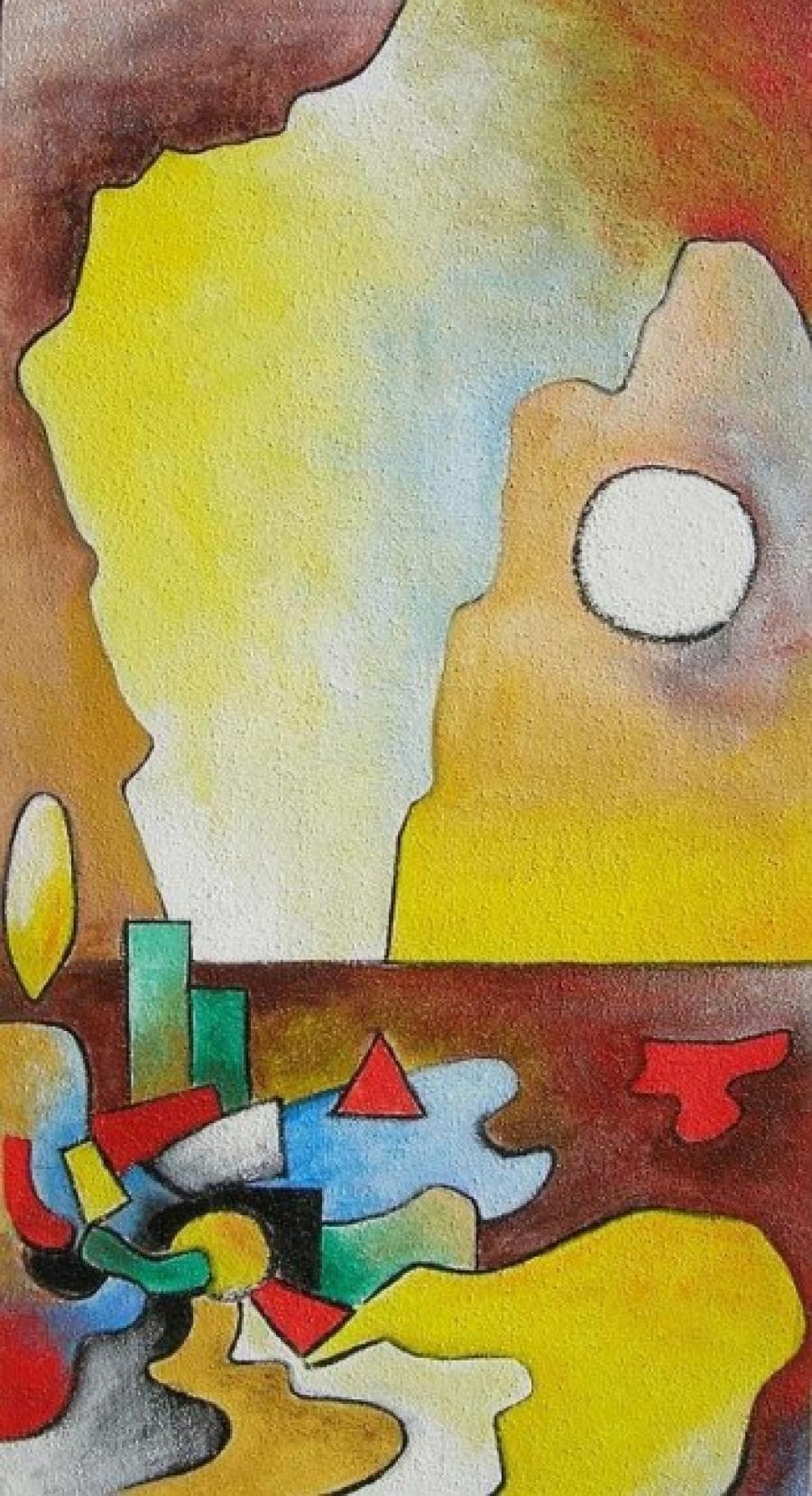 Kunst: acryl met zand  2 van kunstenaar Koeno Jansen