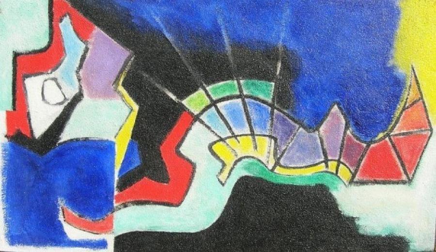 Kunst: acryl met zand  3 van kunstenaar Koeno Jansen