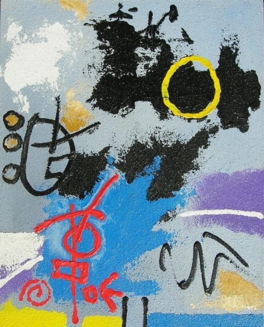 Kunst: acryl met zand 7 van kunstenaar Koeno Jansen