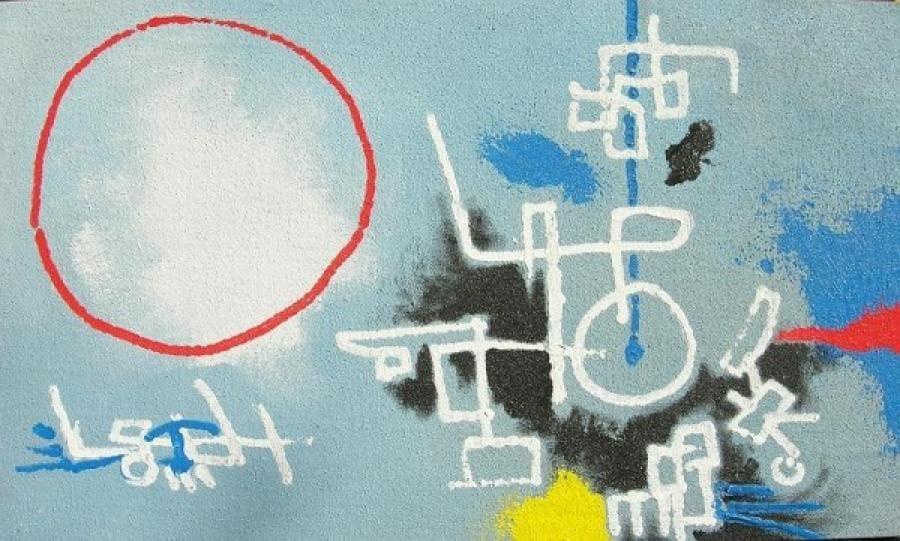 Kunst: acryl met zand  8 van kunstenaar Koeno Jansen