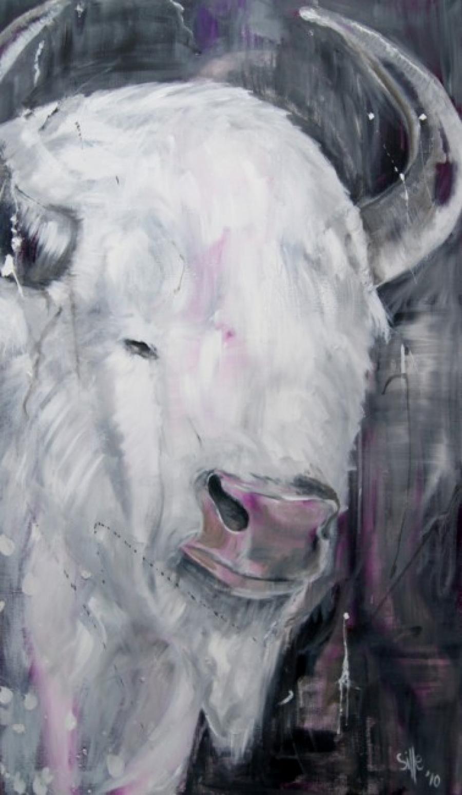 Kunst: Albino buffalo I van kunstenaar Tamara Sille