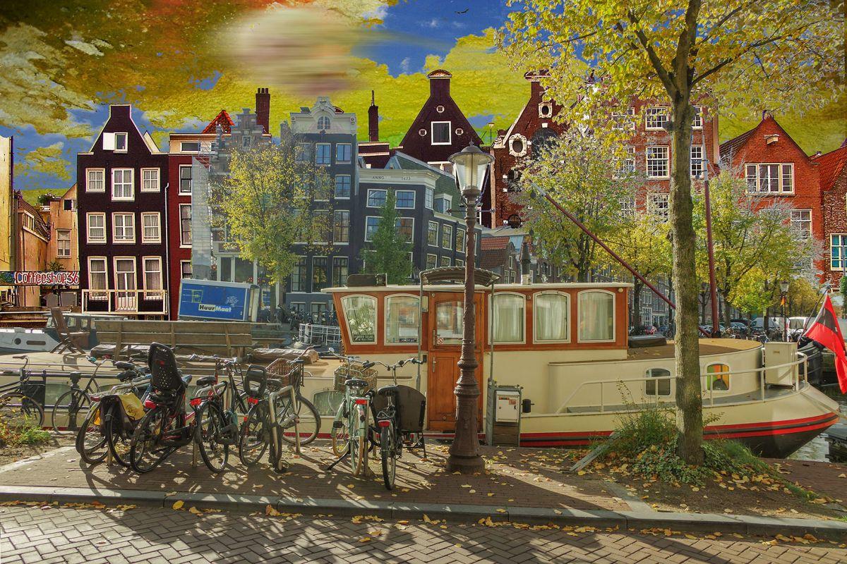 Kunst: Amsterdam View Opus 34 van kunstenaar Geert Lemmers