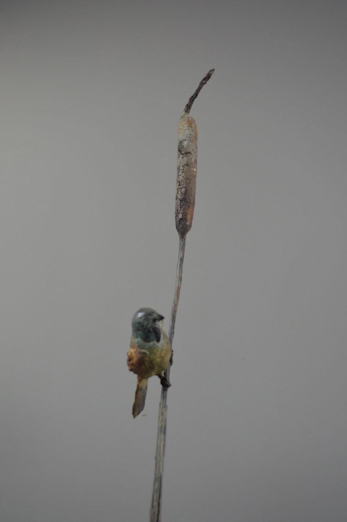 Kunst: baardmannetje aan lisdodde van kunstenaar Chris Gadiot