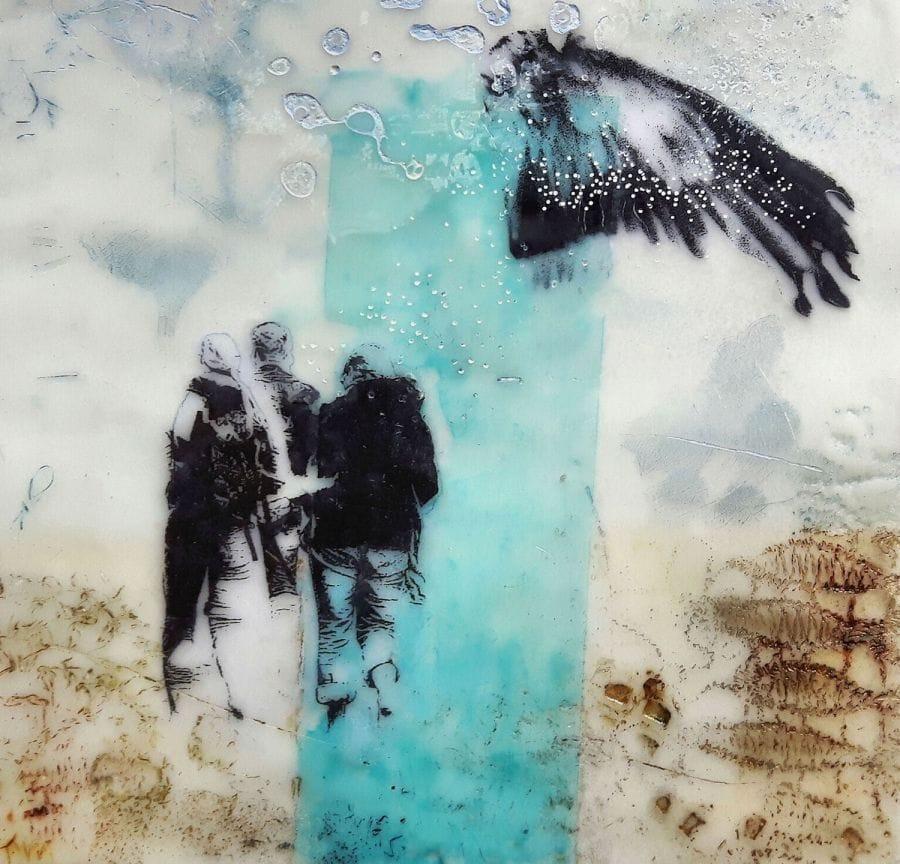 Kunst: Beach memories II van kunstenaar Trijnie Mohlmann