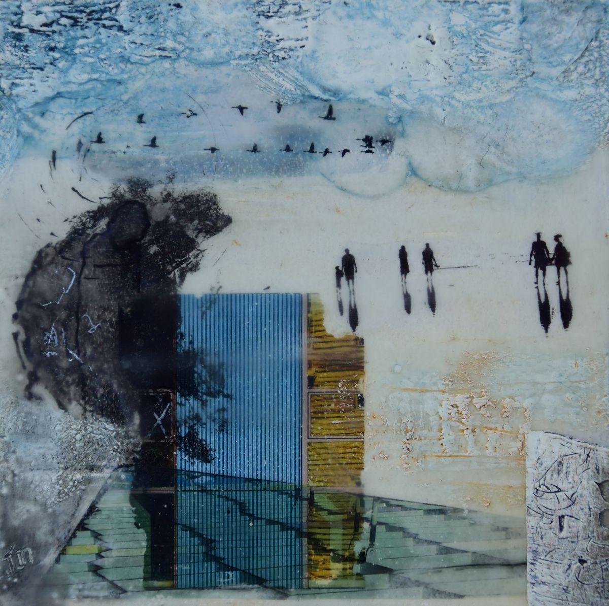 Kunst: Beach memories III van kunstenaar Trijnie Mohlmann