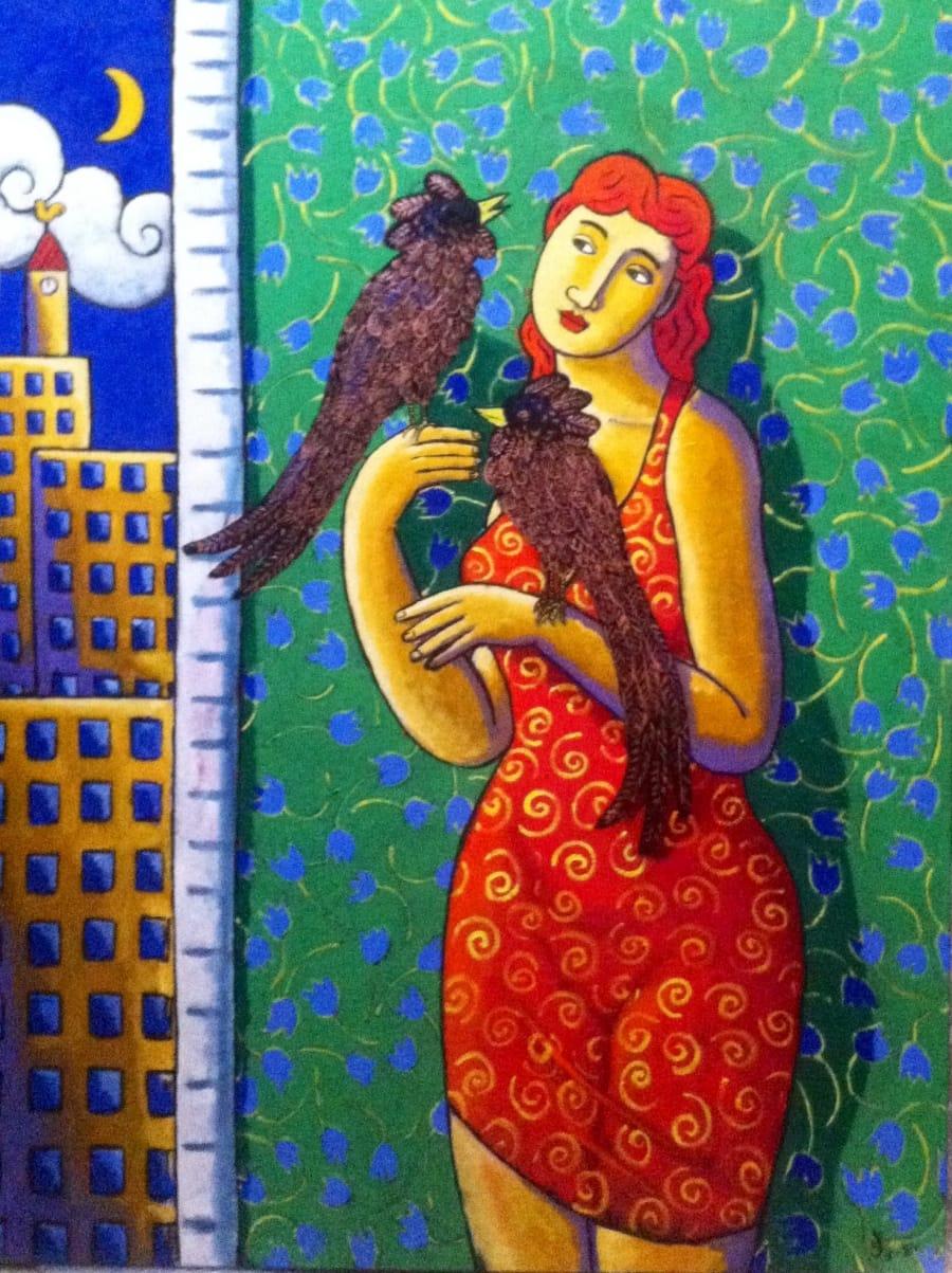 Kunst: Birds Gossip van kunstenaar Jacques Tange