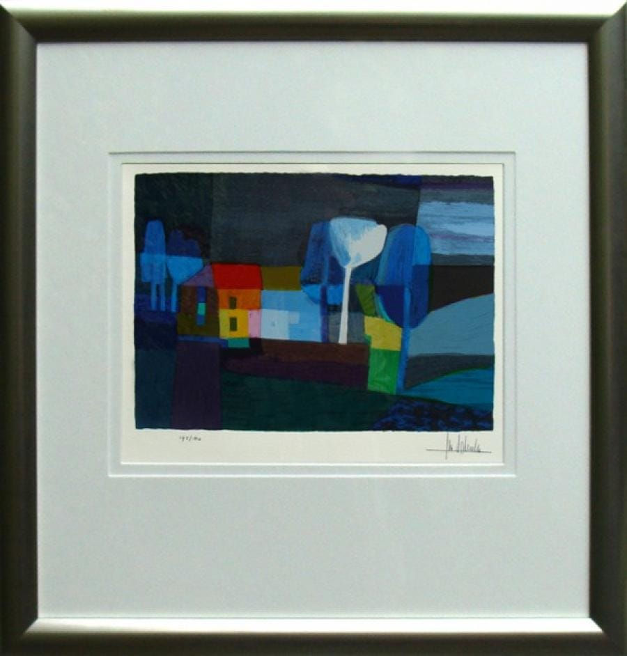 Kunst: Blauw landschap van kunstenaar Ton Schulten