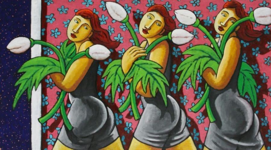 Kunst: Blooming ladies with flowers van kunstenaar Jacques Tange