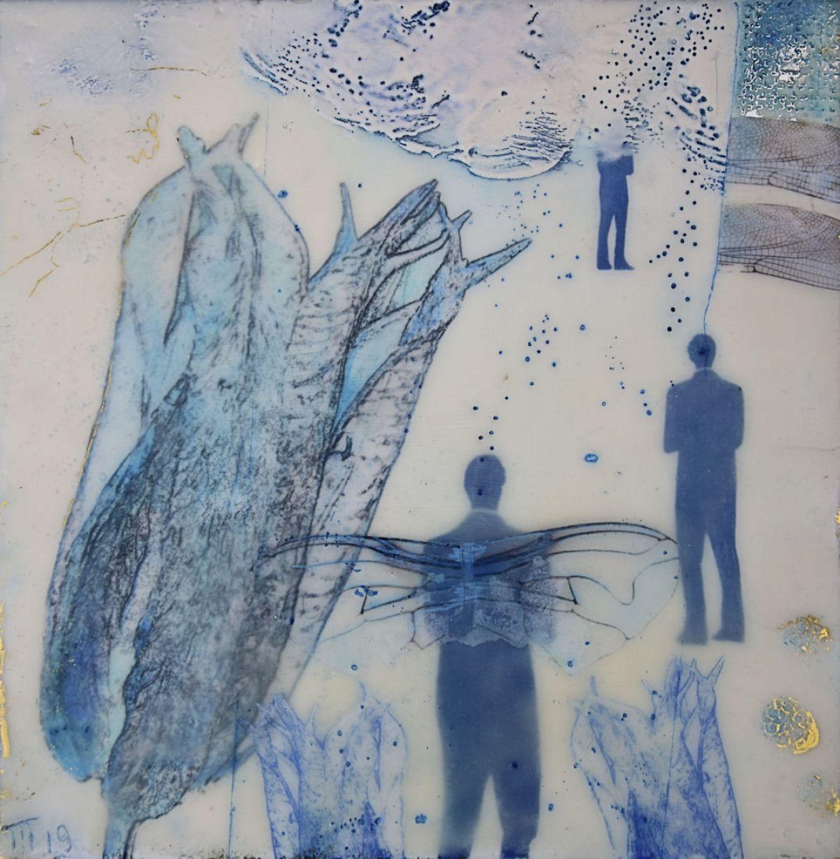 Kunst: Blue tulip Thema tentoonstelling D.Blauw van kunstenaar Trijnie Mohlmann