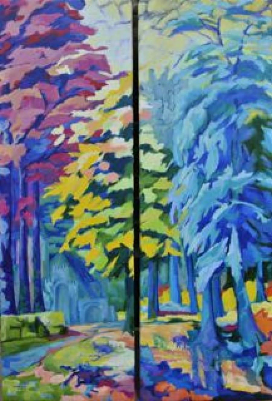 """Kunst: boslandschap """"après GD"""" van kunstenaar Angenelle Thijssen"""