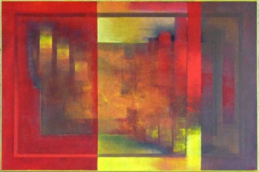 Kunst: bruin geel en rood van kunstenaar Koeno Jansen