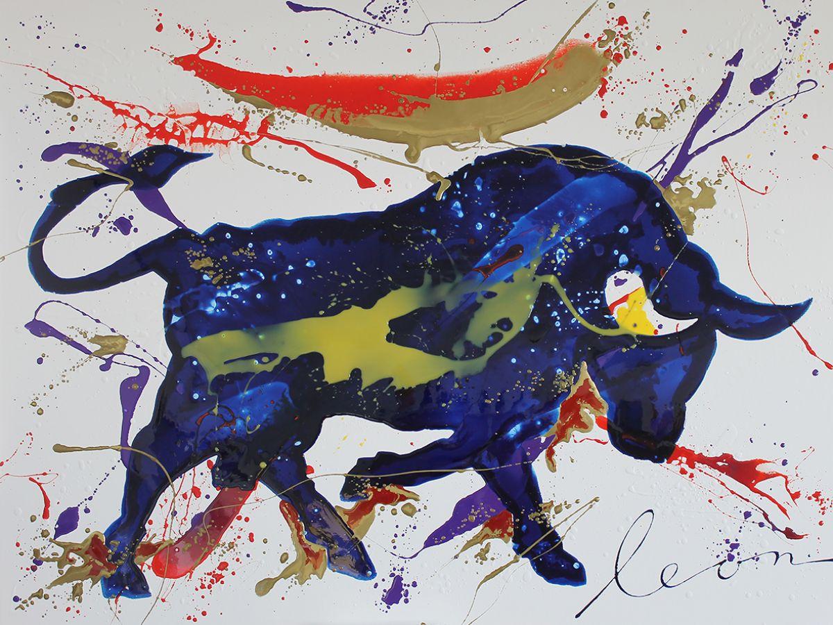 Kunst: Bull Blue van kunstenaar Leon Bosboom