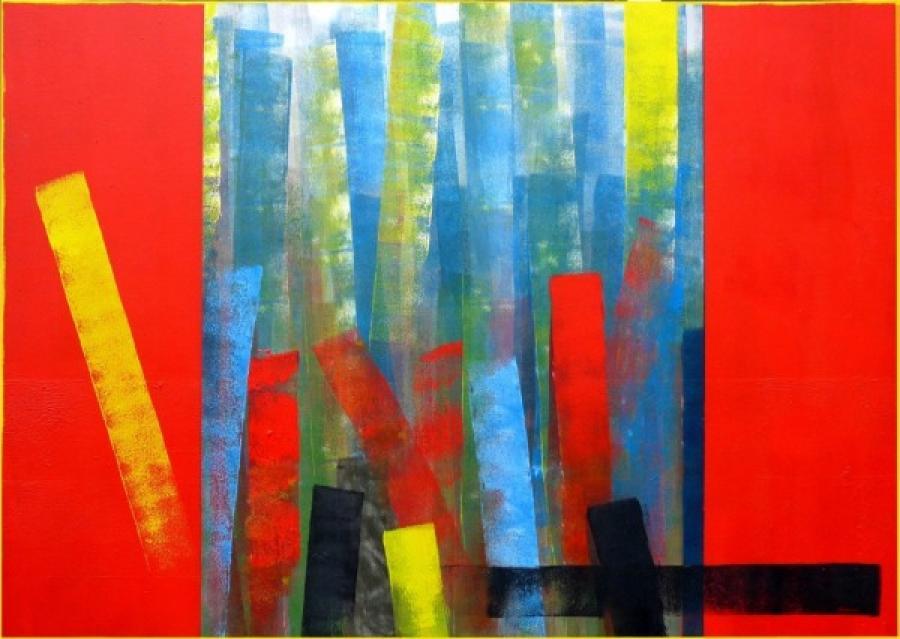 Kunst: cadmiumrood 2 van kunstenaar Koeno Jansen